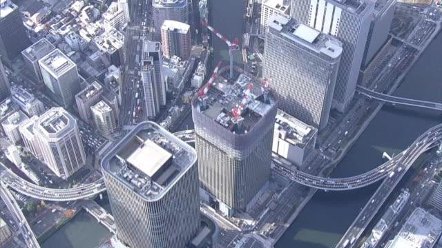 aerial, osaka city center, japan - osaka stock videos and b-roll footage
