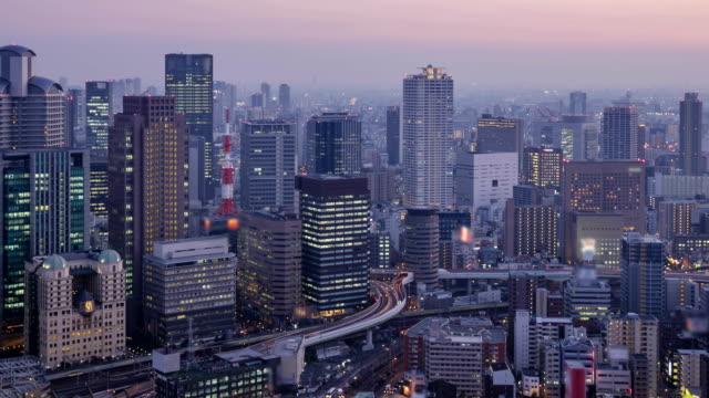 Osaka Cityscape in sunset-Time Lapse.