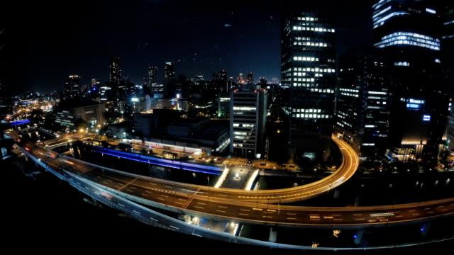 vídeos de stock, filmes e b-roll de cidade de osaka do japão noite highway - velocidade alta