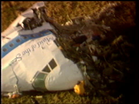 close up LIB Wreckage of plane crash in Lockerbie
