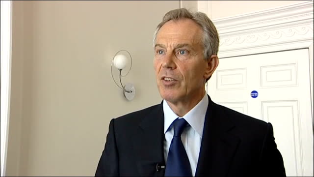 Blair reaction ENGLAND London INT Tony Blair interview SOT Send deep thanks to President Obama and the American people who have carried out this...