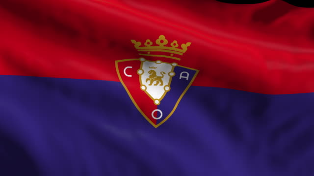 osasuna spanish soccer team flag waving computer generated animation for editorial use seamlessly looped and close up - loopable elements stock videos & royalty-free footage