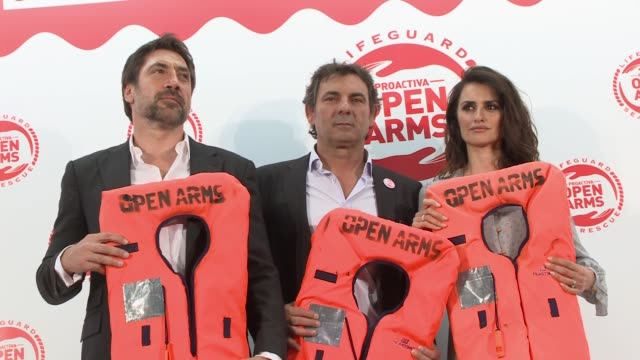 Oscar Camps founder of the Spanish NGO Proactiva Open Arms Oscar Camps and Penelope Cruz attend the Open Arms's charity event supported by Penelope...