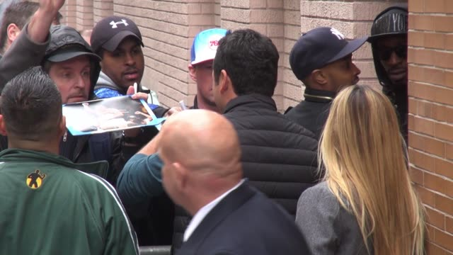 oscar de la hoya leaves the view show, signs and poses for photos with fans in celebrity sightings in new york, - oscar de la hoya stock videos & royalty-free footage