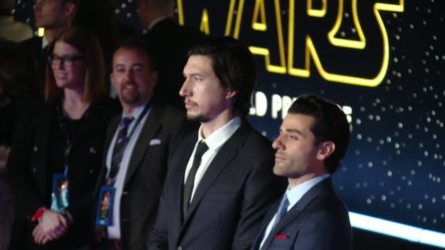 oscar isaac and adam driver at the star wars the force awakens world premiere at tcl chinese theatre on december 14 2015 in hollywood california - star wars stock videos & royalty-free footage