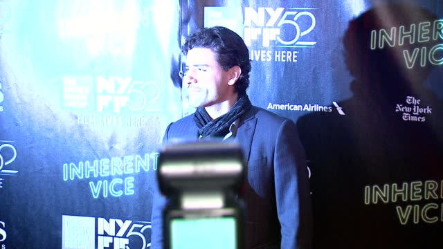oscar isaac at 52nd new york film festival inherent vice centerpiece gala presentation world premiere at alice tully hall lincoln center on october... - 映画プレミア点の映像素材/bロール