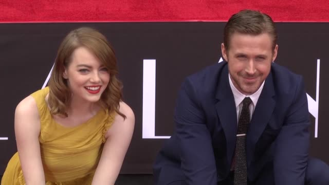 Oscar nominated Emma Stone and Ryan Gosling are lauded as a modern day Fred and Ginger as they sink their hands and feet into the cement at...