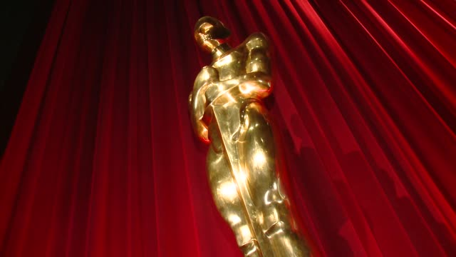 oscar statue at the 87th academy awards nominations announcement at ampas samuel goldwyn theater on january 15, 2015 in beverly hills, california. - roter teppich stock-videos und b-roll-filmmaterial