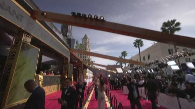 stars arriving on red carpet USA Hollywood DOWN to red carpet on Hollywood Boulevard and crowds waiting behind barriers Legs of people along Gold...