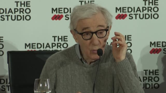 oscarwinning director woody allen gives a press conference in san sebastian in northern spain where he is about to begin filming his latest movie - woody allen stock videos & royalty-free footage