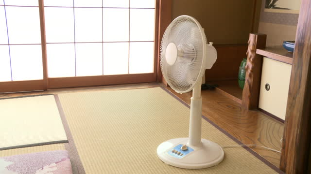 zi, oscillating fan in japanese room, tokyo, japan - tradition stock videos & royalty-free footage