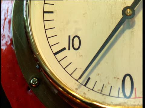 Oscillating needle on pressure gauge on machine