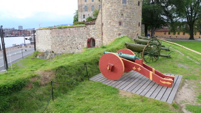 oslo, akershus fortress, cannons lining the rampats of the castle - circa 12th century stock videos and b-roll footage