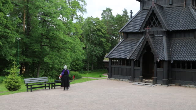 oslo, bygdoy, folk museum, stavkirke woodwn stave church from gol, 13th century - circa 13th century stock videos & royalty-free footage