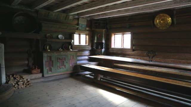 Oslo, Bygdoy, Folk museum, wooden farm building, interior of the Hove house
