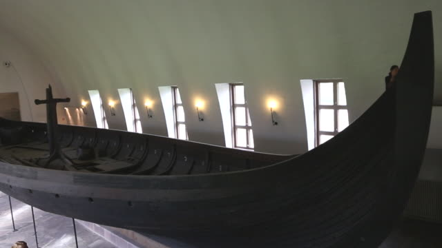 oslo, bygdoy, viking ship, gokstad ship, ship was found in a large burial mound on the gokstad farm in vestfold - viking stock videos and b-roll footage