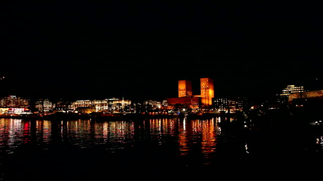 oslo city hall at night in november. - night stock videos & royalty-free footage