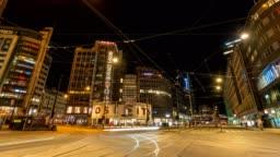 Oslo city skyline night timelapse at Oslo Railway Station, Oslo, Norway 4K time lapse