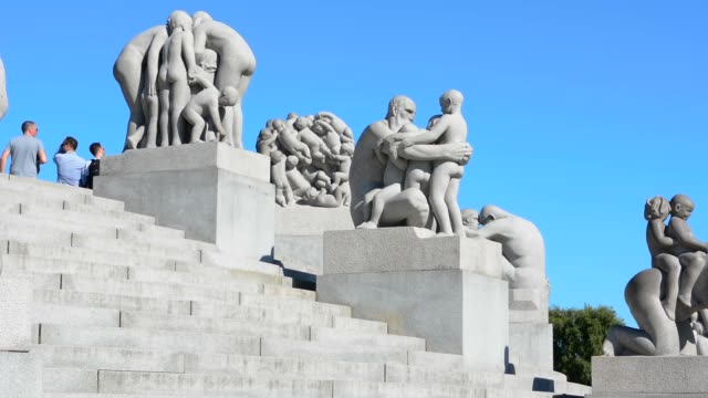 oslo norway vigeland installaation - female likeness stock videos & royalty-free footage