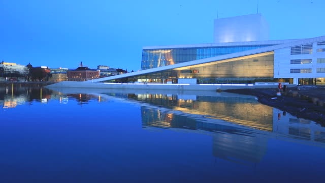 Oslo Opera House and cityscape with its Reflection at dusk