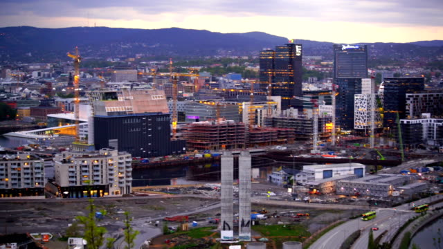 Oslo panorama city skyline at twilight in Norway