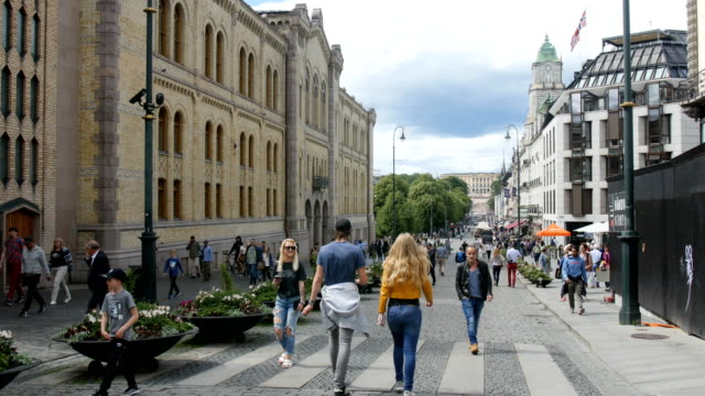 Oslo - people walking in the streets, Norway