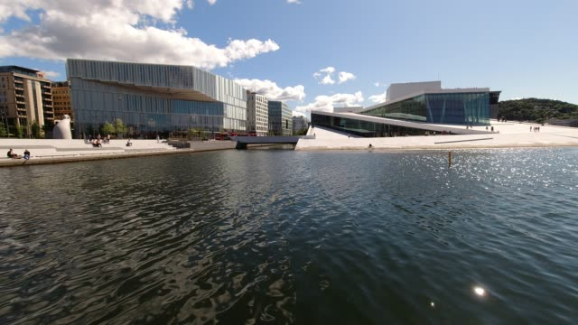 oslo public library and oslo opera and ballet - waterfront stock videos & royalty-free footage