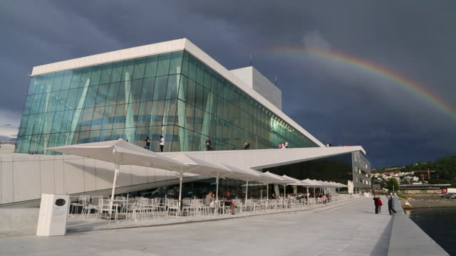 oslo,  rainbow over the norwegian national opera and ballet building - opera stock videos & royalty-free footage