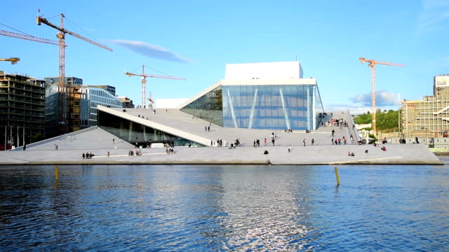 oslo, view of the norwegian national opera and ballet building - capital cities stock videos & royalty-free footage