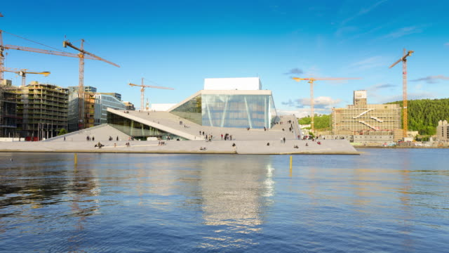 oslo, view of the norwegian national opera and ballet building - opera stock videos & royalty-free footage