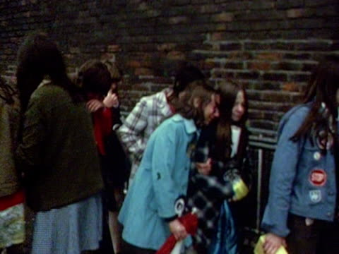 osmonds fans are distraught after being turned away from a sold out concert at the belle vue theatre in birmingham. 1973. - the osmonds stock videos & royalty-free footage