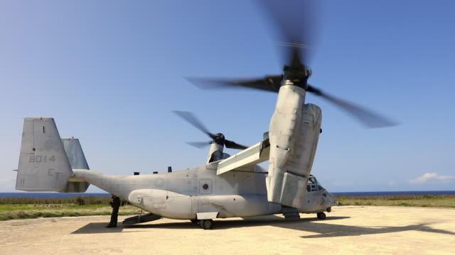 離陸の準備ができているオスプレイ - ミサゴ点の映像素材/bロール