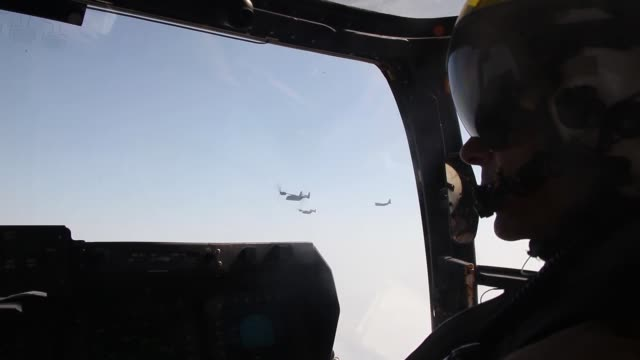 ospreys and a kc130j hercules both with marine medium tiltrotor squadron 261 24th marine expeditionary unit conduct aerial refueling training... - osprey stock videos & royalty-free footage