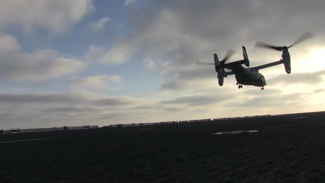 ospreys with marine medium tiltrotor squadron 163 , 11th marine expeditionary unit, loaded with marines from golf company, battalion landing team 2nd... - medium group of animals点の映像素材/bロール