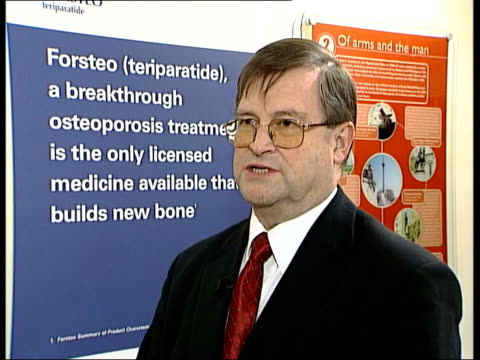 new treatment on sale; itn london: professor graham russell interview sot - very successful in trials i/c as holding forsteo pen - osteoporosis stock videos & royalty-free footage