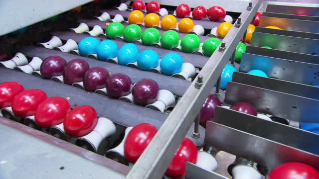 ostereier - painted eggs through production line to packaging in austria - packaging stock videos & royalty-free footage