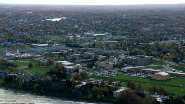 stockvideo's en b-roll-footage met oswego op lake ontario - luchtfoto - new york, en valt bestuurlijk oswego county - ontariomeer