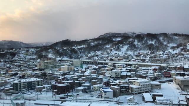 Otaru city view with snow ,Hokkaido Japan