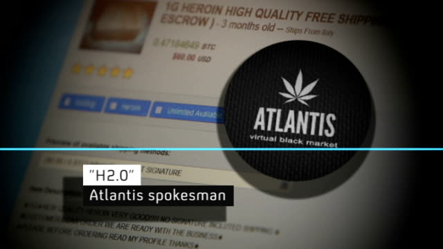 vídeos y material grabado en eventos de stock de other illegal drug websites replace silk road close shot website / atlantis logo and graph showing vocal sounds as audio interview with 'h20'... - atlantis