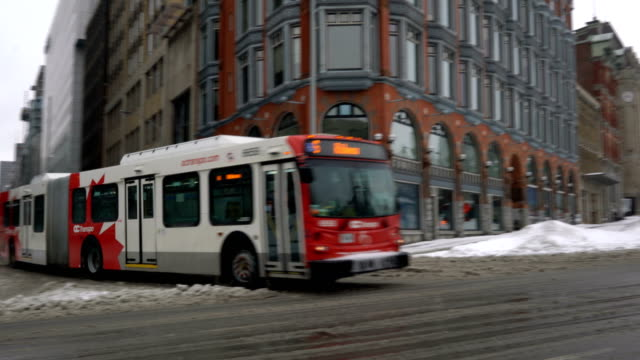 ottawa bus after blizzard - bus stock videos & royalty-free footage