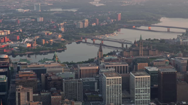 aerial ottawa river and gatineau viewed from downtown ottawa - gatineau stock videos & royalty-free footage
