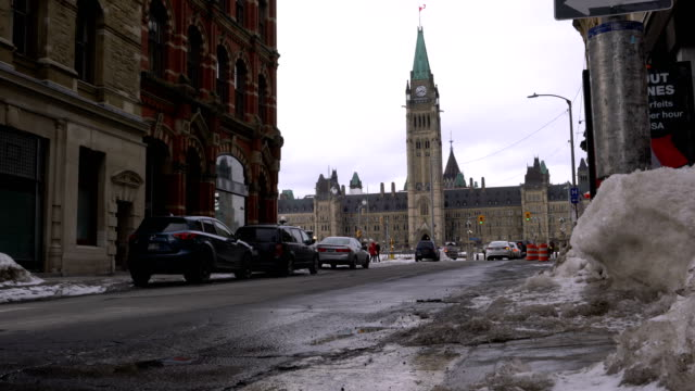 ottawa street background is the canadian parliament - parliament hill stock videos & royalty-free footage