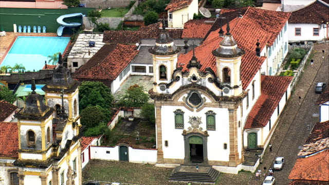 nossa senhora do carmo - aerial view - minas gerais, mariana, brazil - minas gerais stock videos and b-roll footage