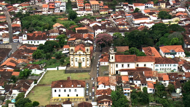 nossa senhora do carmo and de são francisco de assis  - aerial view - minas gerais, mariana, brazil - minas gerais stock videos and b-roll footage