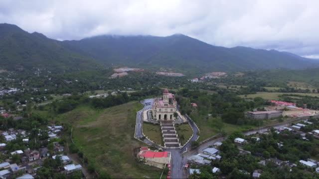 Our Lady of El Cobre church in Cuba, wide aerial landscape