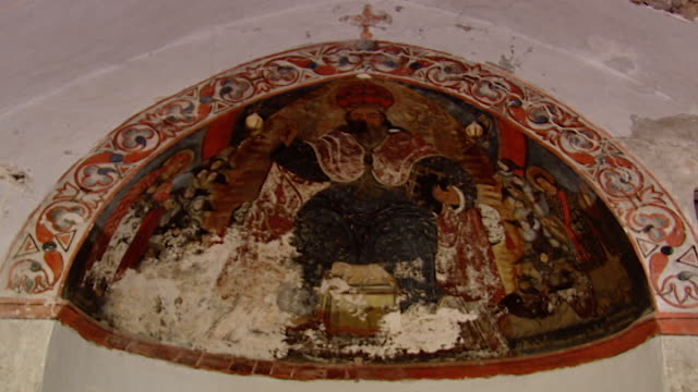 our lady of qannoubine monastery, mount lebanon. low angle long shot of christ pantocrator deesis fresco in the eastern apse of our lady of our lady... - apse stock videos & royalty-free footage