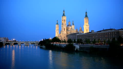 hd: our lady of the pillar basilica zaragoza, spain - architectural column stock videos & royalty-free footage