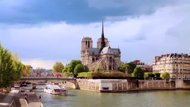 our lady - river seine stock videos & royalty-free footage