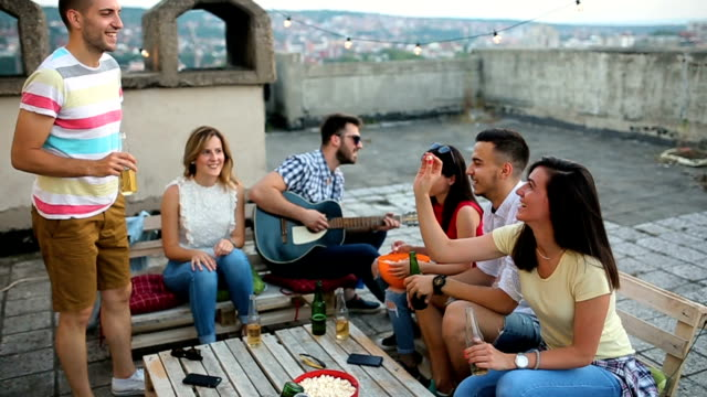 our party on the rooftop - snack stock videos & royalty-free footage