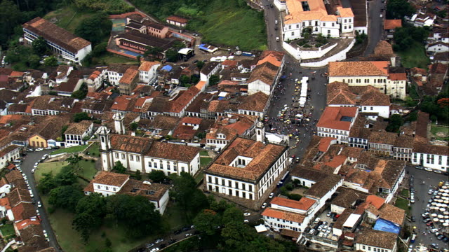 ouro preto churches  - aerial view - minas gerais, ouro preto, brazil - minas gerais stock videos and b-roll footage